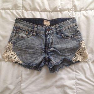 Lace Detailed Denim Jean Shorts